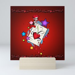 The red card heart A with fairy Mini Art Print
