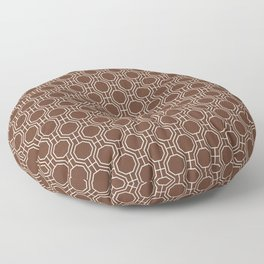 Mid-Century Modern Octagon Pattern , Brown and White Floor Pillow