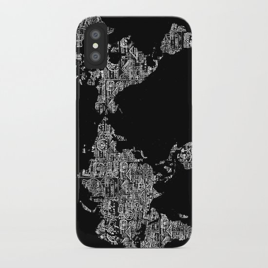 Passport Stamp Map Special Edition, Black and White iPhone Case