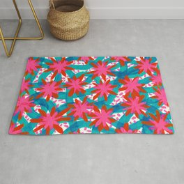 Electric Pink Flowers Rug