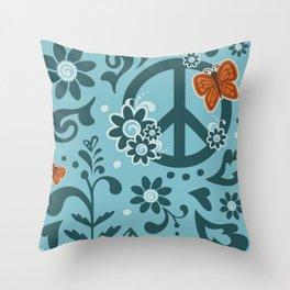 Peace, Love, and Garden  |  Cool, Blue Throw Pillow