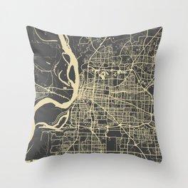 Memphis map yellow Throw Pillow