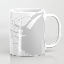 White on Light Grey Dublin Street Map Coffee Mug