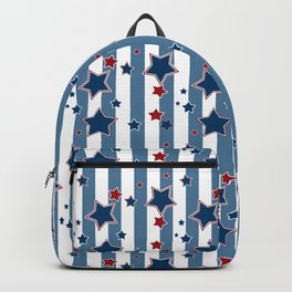 Red and blue stars on a striped background . Backpack