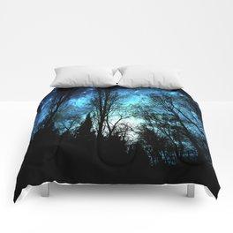 Black Trees Deep Teal SPACE Comforters