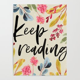 Keep Reading - Beige Poster