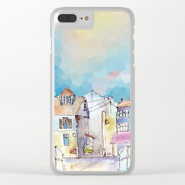 Colorful street in old town under abstract sky Clear iPhone Case