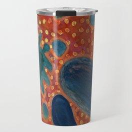 Falling Rocks on dotted Background  Travel Mug