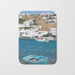 Blue Boat on Mykonos Island Greece Bath Mat