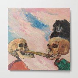 Skeletons Fighting portrait painting by James Ensor Metal Print