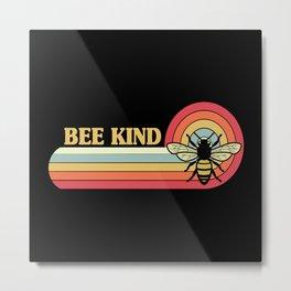 Bee Kind Retro Style Bees Metal Print