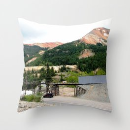 1880's Gold Rush - The Idarado Mine and Red Mountains Throw Pillow