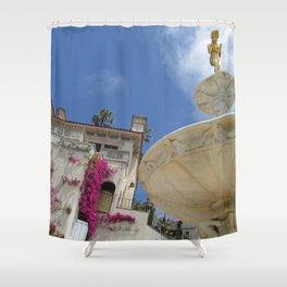 Castle fountain Shower Curtain
