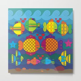 Stylize fantasy color fishes under sea water in love Metal Print