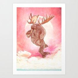 Space Walrus on Moon Patrol Art Print