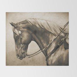 Western Quarter Horse Old Photo Effect Throw Blanket