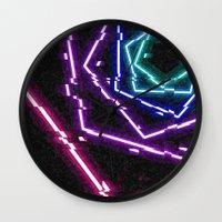 glitch Wall Clocks featuring glitch. by Zombie Rufio