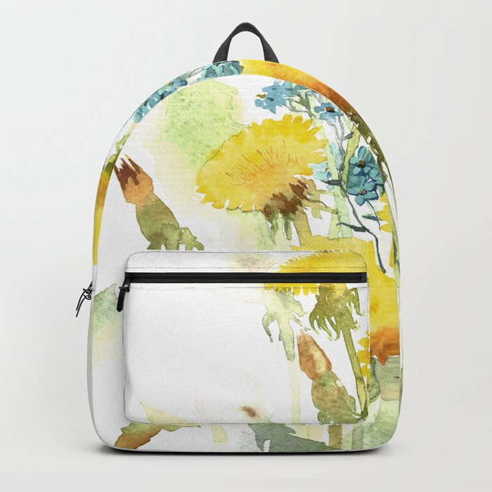 Watercolor flowers of blowball and forget-me-not Backpack
