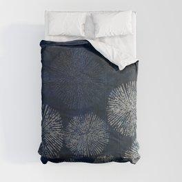 Denim Blue Shibori Sea Urchin Burst Pattern Comforters