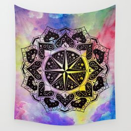 """Rose of the Winds""  WATERCOLOR MANDALA (HAND PAINTED) BY ILSE QUEZADA Wall Tapestry"