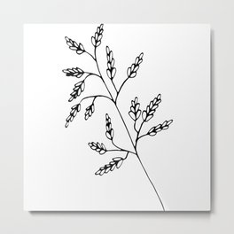 Branch White Metal Print
