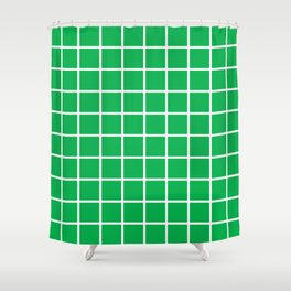 Green Grid Pattern 2 Shower Curtain