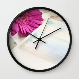 Gerbera, Phlox and Polaroids Wall Clock