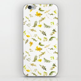 Tropical yellow green watercolor modern leaves floral iPhone Skin