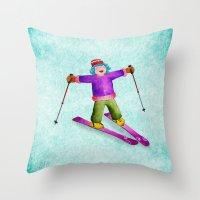 tina Throw Pillows featuring Tina Skiing by Tina