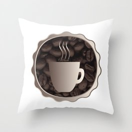 Roasted Coffee Cup Sign Throw Pillow