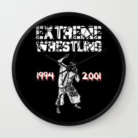 wrestling Wall Clocks featuring Extreme Wrestling by Darth Paul