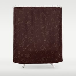 Burgundy faux gold hallowen pumpkin floral Shower Curtain