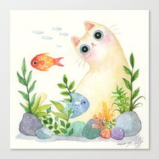 The Aquarium Cat Canvas Print