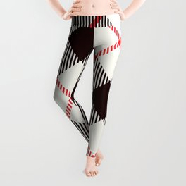 White Tartan with Diagonal Black and Red Stripes Leggings