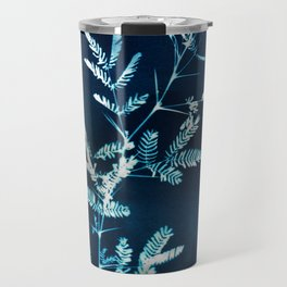 Blue gazes from the cat windows Travel Mug
