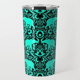 Elephant Damask Mint and Black Travel Mug