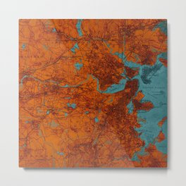 Boston 1893 old map, blue and orange artwork, cartography Metal Print