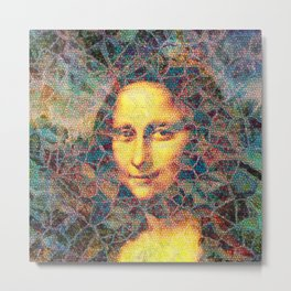 Mona Lisa Mosaic Metal Print