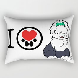 I Heart furBags - English Sheepdog Rectangular Pillow