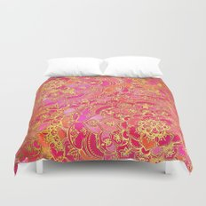 Hot Pink and Gold Baroque Floral Pattern Duvet Cover