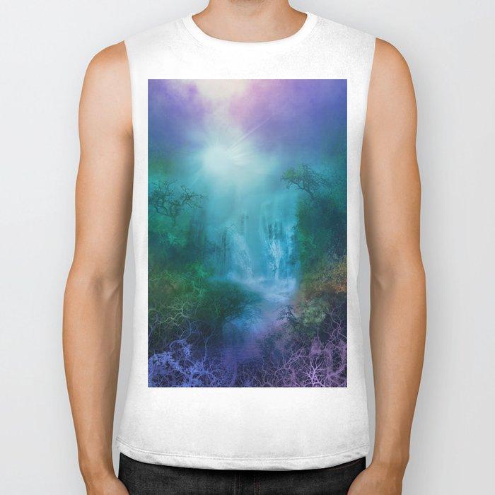 purple forest landscape Biker Tank