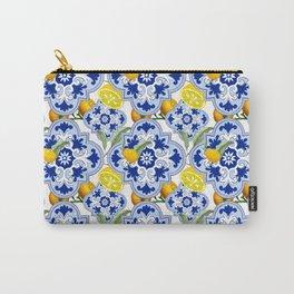 Summer citrus ,floral Mediterranean style ,lemon fruit pattern  Carry-All Pouch