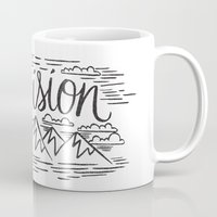 boob Mugs featuring HAVE AN ADVENTURE WITH TELEVISION by Matthew Taylor Wilson