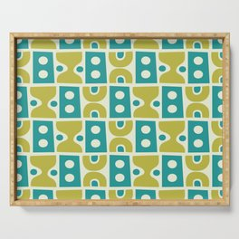 Funky Mid Century Modern Pattern 773 Turquoise and Chartreuse Serving Tray