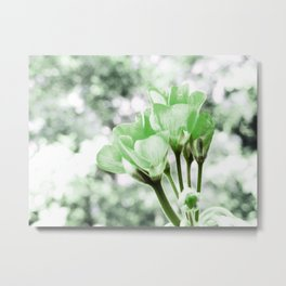 Pastel Green Flowers Metal Print