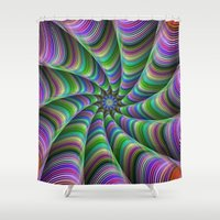 striped Shower Curtains featuring Striped tentacles by David Zydd