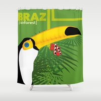 brazil Shower Curtains featuring Brazil [rainforest] by Caetanorama Art Studio