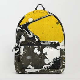 Marble Ink Yellow Black White Backpack
