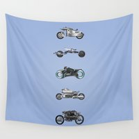 bikes Wall Tapestries featuring Sci-Fi Movie Bikes II by Lawrence Lee