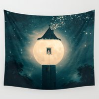 marianna Wall Tapestries featuring The Moon Tower by Paula Belle Flores